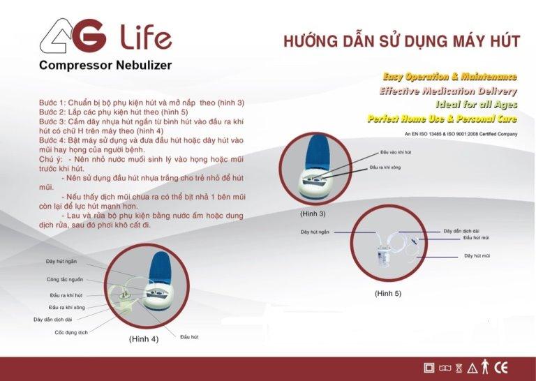 Hướng dẫn sử dụng máy xông và hút mũi họng 2 trong 1 AG-Life