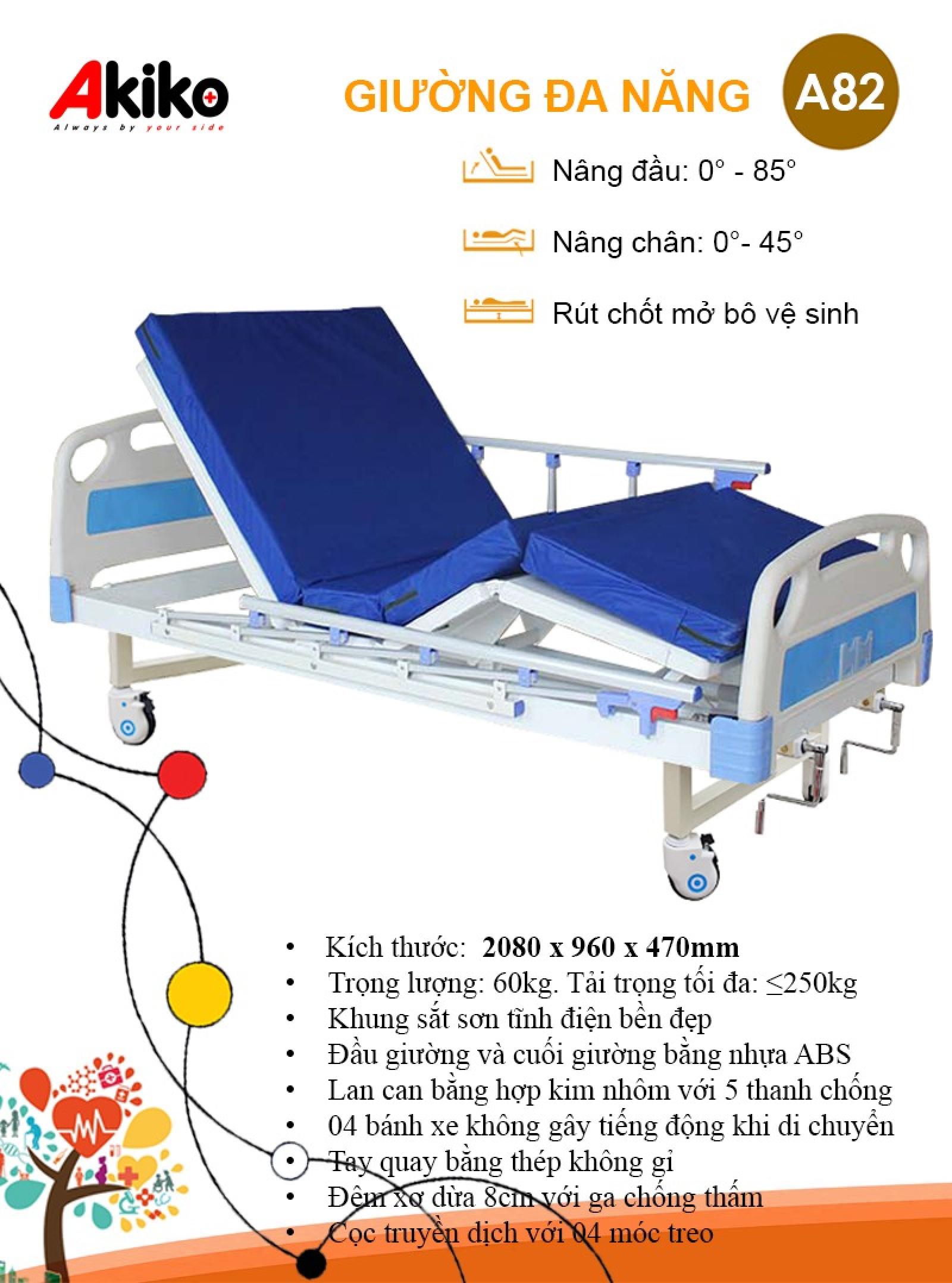 Giường bệnh nhân 2 tay quay 3 chức năng Akiko A82 có bô vệ sinh