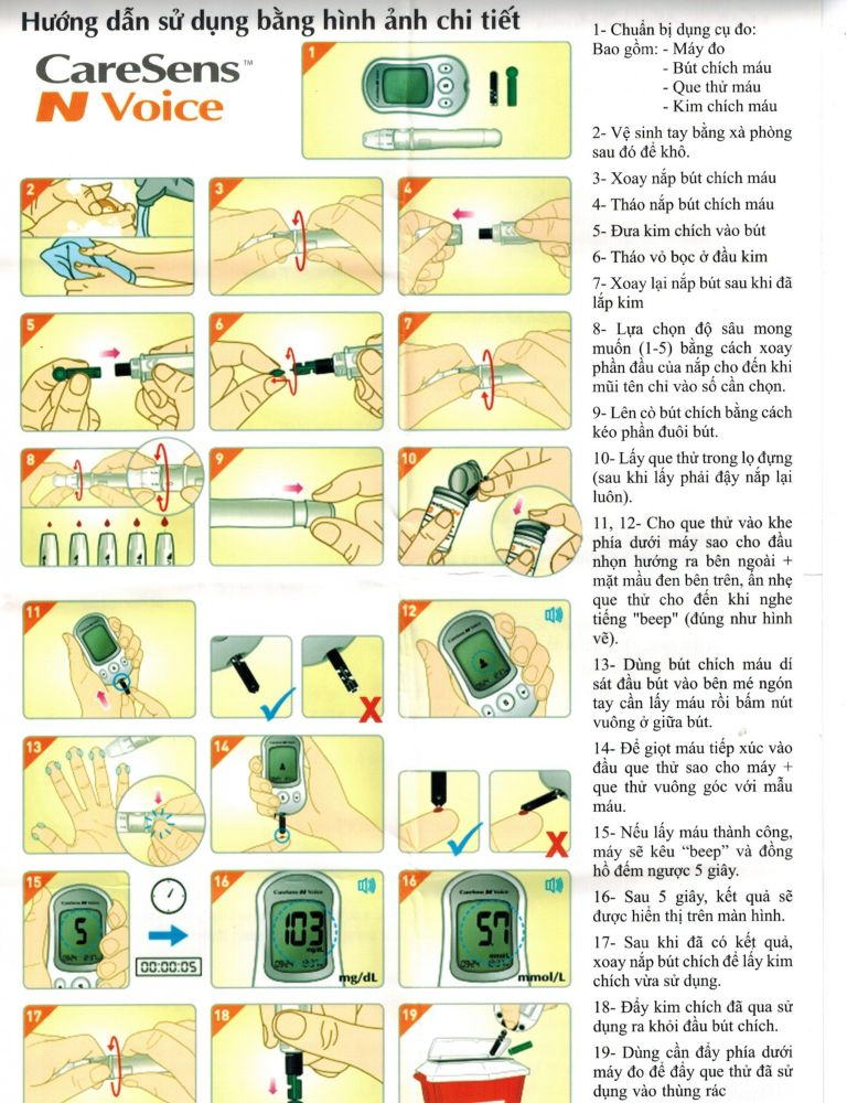 hướng dẫn sử dụng máy đo đường huyết caresens n